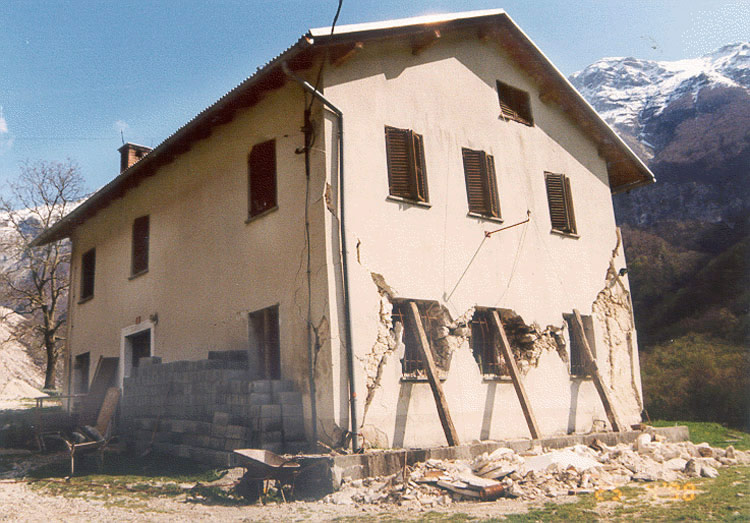 A Photograph Illustrating Typical Earthquake Damage in the 1998 Bovec earthquake