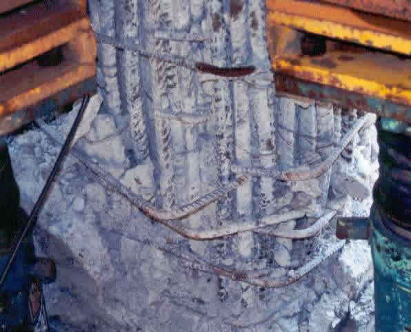 Earthquake Damage - Opening of 90 degree column hooks in the 1999 Chi Chi earthquake (Source: EERI 2001)