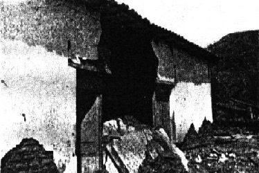Damage to an adobe house in the 1936San Vincente earthquake