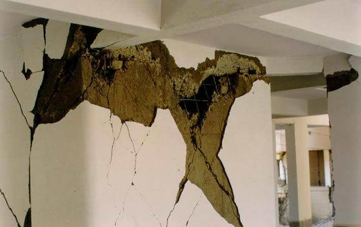 View of Shear Damage of an Elevator Core (2001 Bhuj Earthquake)