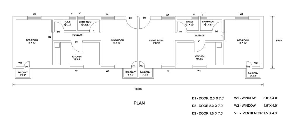 Plan of a Typical Building. World Housing Encyclopedia  WHE
