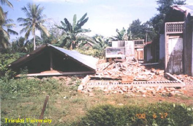 Unreinforced Brick Masonry Buildingtotally collapsed in the June 4, 2000 BengkuluEarthquake)