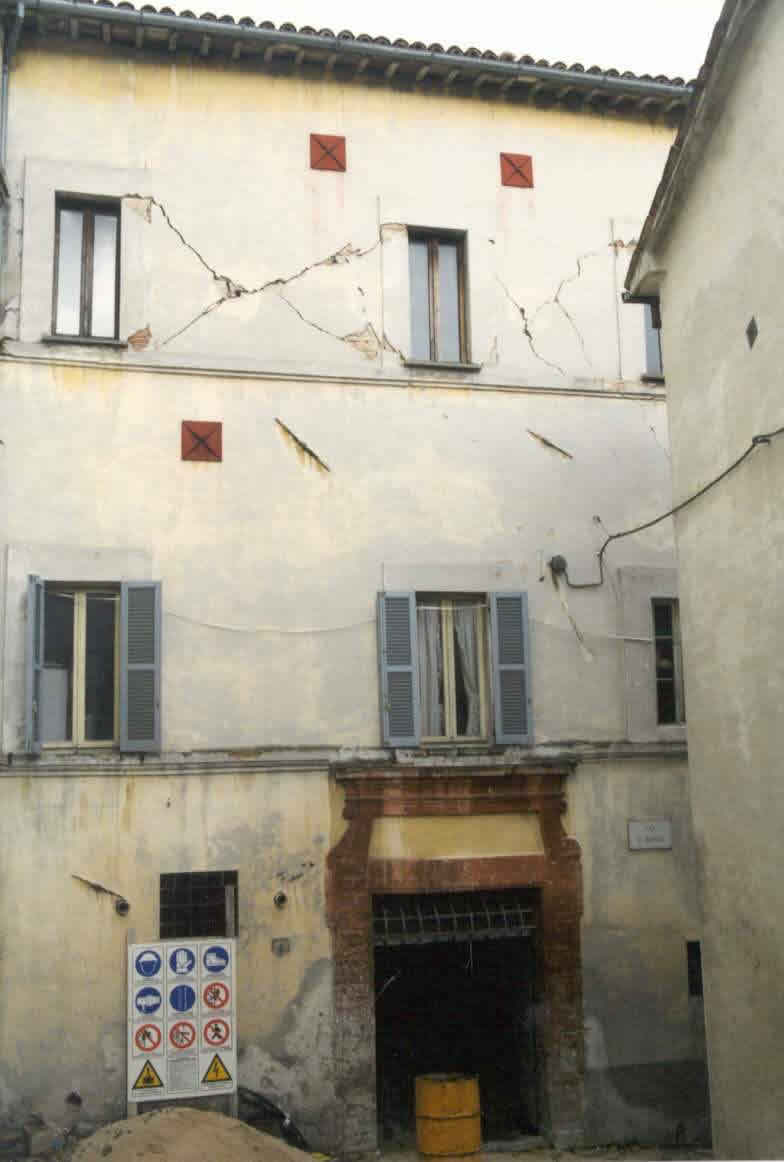 "Typical Earthquake Damage - ""X"" cracking of walls (1997 Umbria-Marche earthquake)"