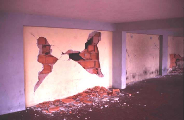Typical Earthquake Damage - Cracking of Hollow Clay Tile Partitions