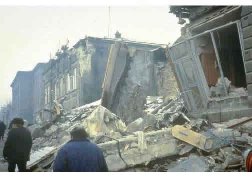 A Photograph Illustrating Typical Earthquake Damage (1988 Armenia earthquake, source: EERI Annotated slide collection)