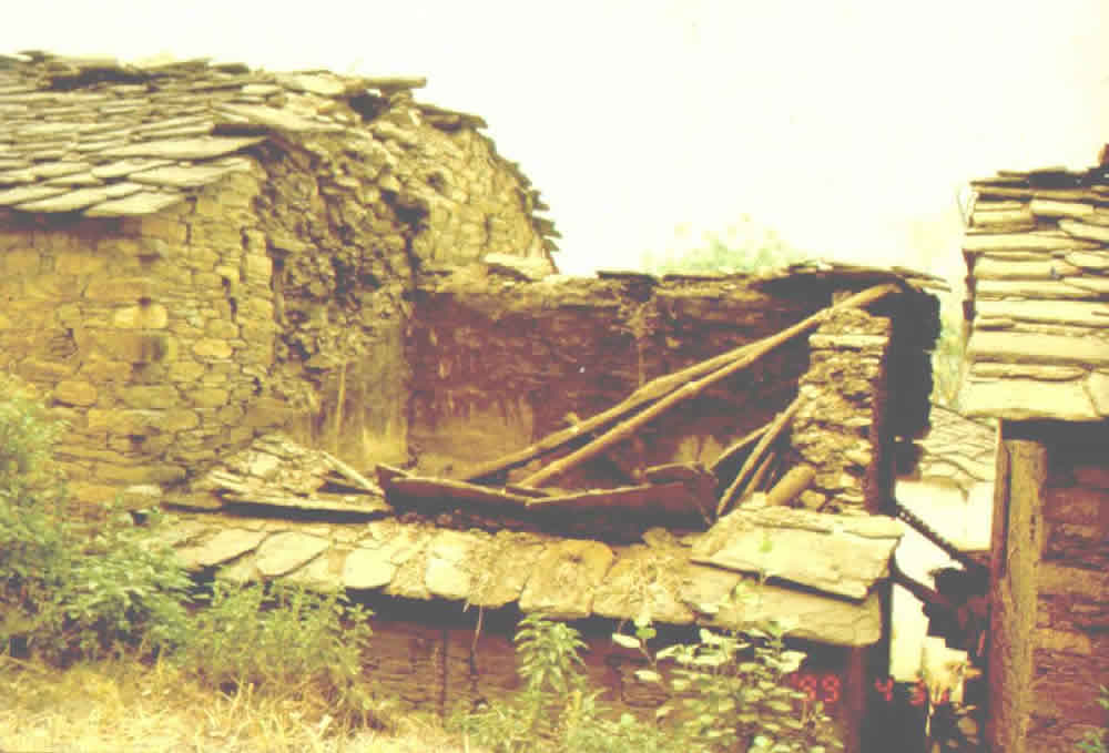 Typical Earthquake Damage: Roof Collapse Due to the Absence of Wall-Roof Connection
