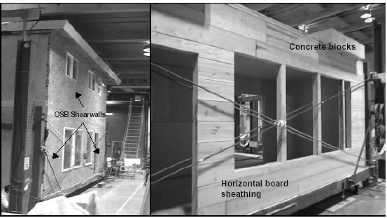 Full-scale model of a two-storey house with OSB shear walls (left) and one-storey subsystem with horizontal board sheathing (Earthquake 99 Project, Source: Kharazzi 2002)