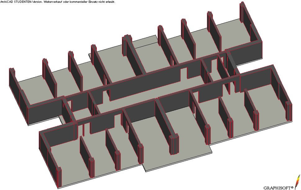 An axonometric view showingloadbearing walls and boundary elements