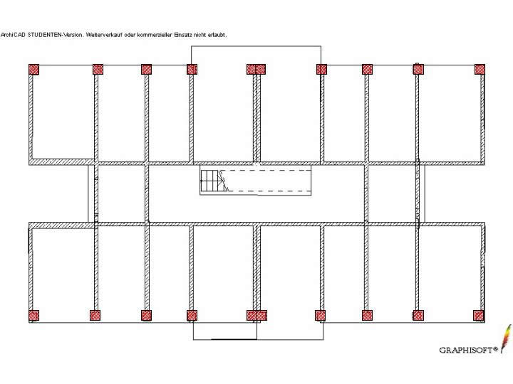 Floor plan showing the wall panels andthe stiffening boundary elements