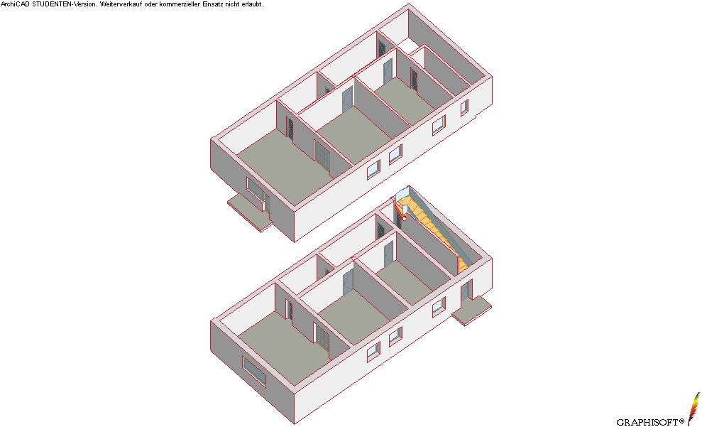 Axonometric view - ground floor andfirst floor