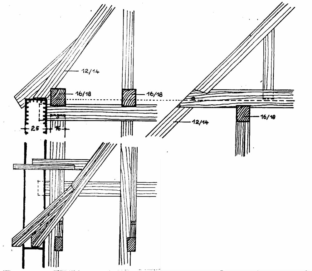 "Roof-wall connection, longitudinaldirection (source unknown, addendum to""Constructions"" course, in German)"