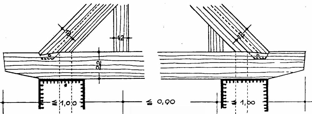 "Roof-wall connection, transversedirection (source unknown, addendum to""Constructions"" course, in German)"