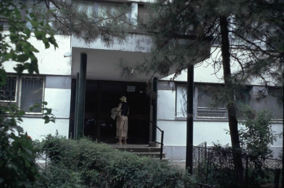 View of the entrance in a typical block.