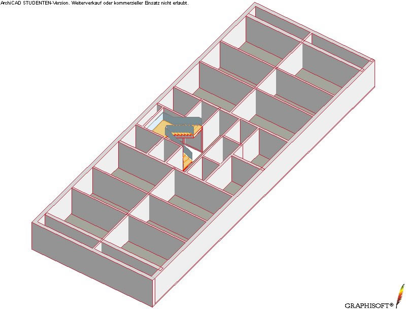Axonometric view of reinforcedconcrete shear walls of a floor