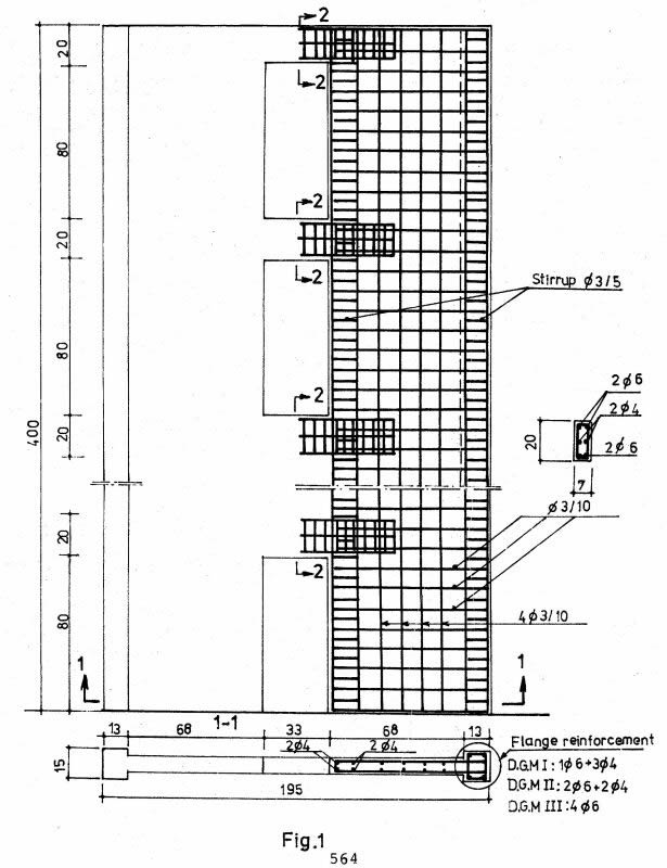 Model of a typical wall for a building ofthis type but 4 floors high (after Ciuhandu andMihaescu in Aroni and Constantinescu, P. 564)