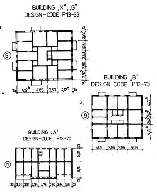 TOP: Plan of a building of related type:cast-in-place, gliding formworks walls, cast-in-placeslabs, foundation raft; MIDDLE: Plan of anotherbuilding of this type: cast-in-place shear walls withgliding formworks, cast-in-place slabs, foundationraft (after