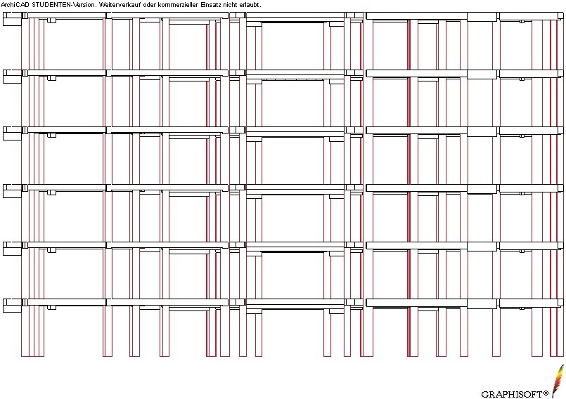 Longitudinal view of load bearing elements