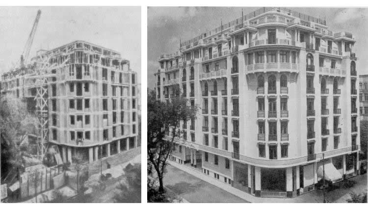 "Construction site of a building of similartype (after Prager(1979), Figures 7.4.9. on p. 144and 7.4.10. on p. 145, featuring on the left theorganization of the building site at block of flats""Spicul"" and on the right the finished block)"