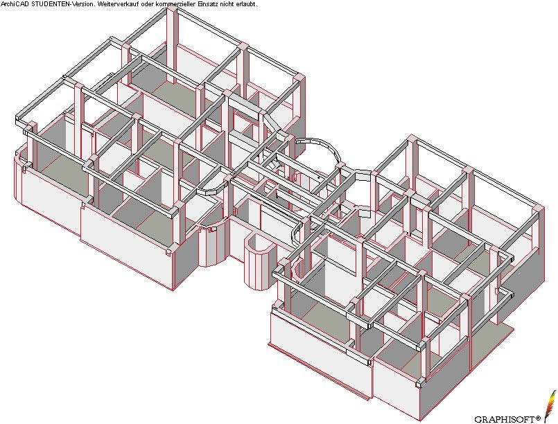 Axonometric view of the relationshipbetween load bearing elements and masonry walls(from Bostenaru(2004))