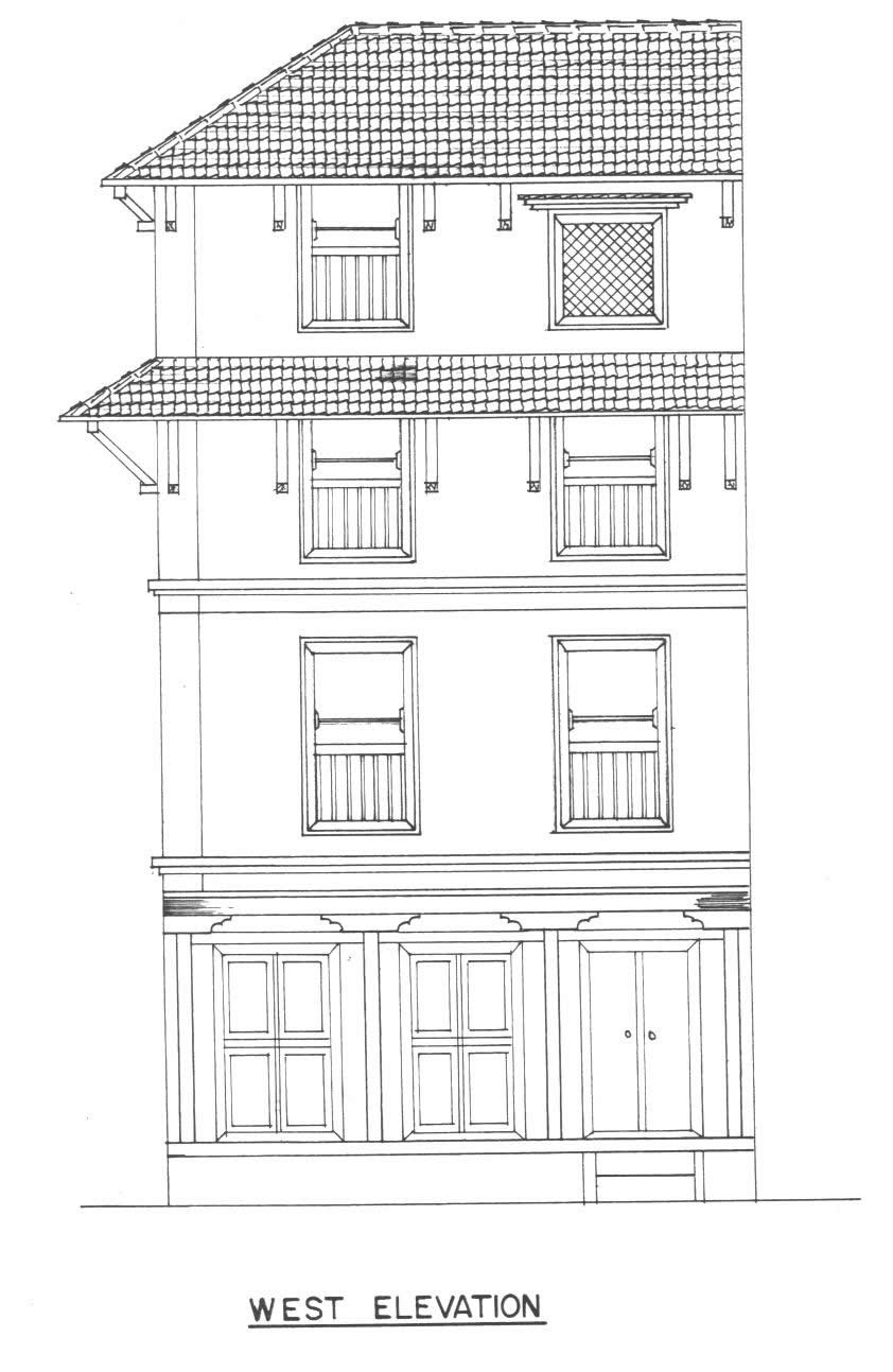 West elevation with dalan structure at ground floor.