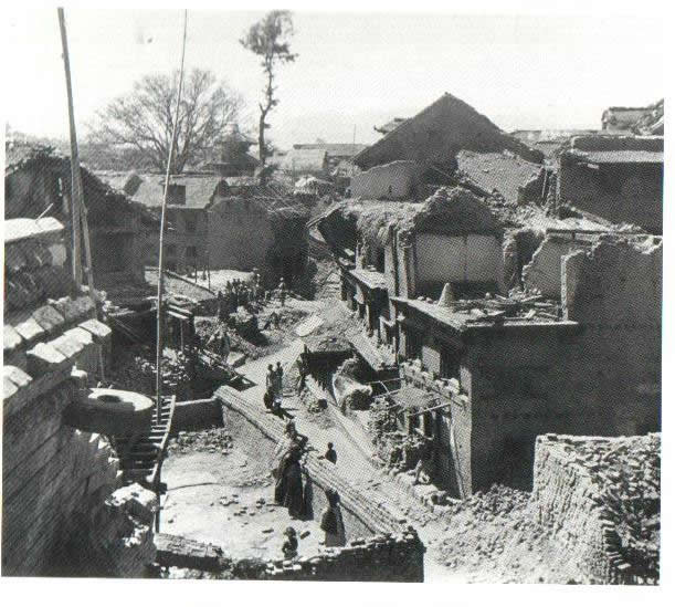 Photograph of a residential street in Lalitpur after the 1934 earthquake.