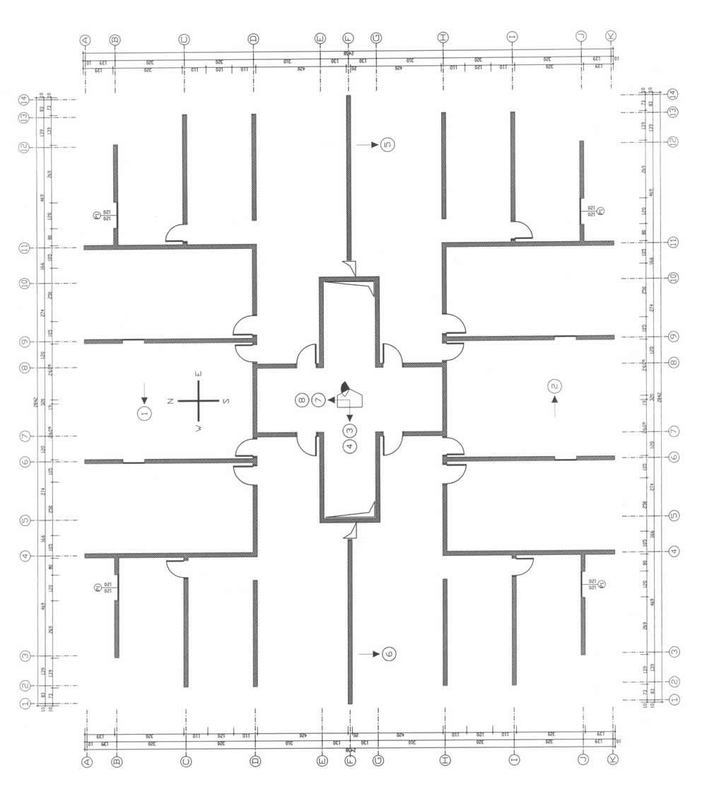Structural Plan of the Building in Figure10 (Building Footprint Measures 25x27m, and ItsHeight is 25m)