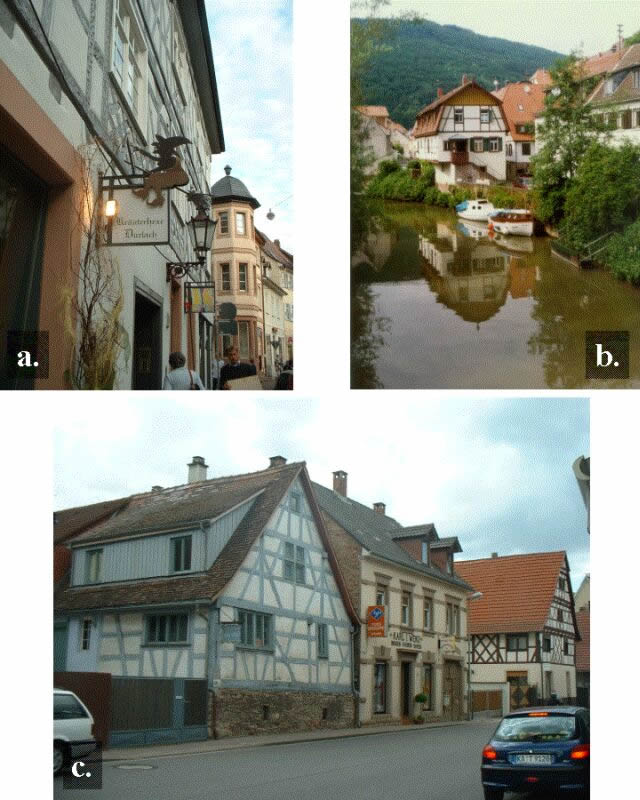 """Fachwerk"" houses in Germany: a. in anurban area; b. and c. in rural areas; a. and c.southern Germany; b. central Germany. a. and c.photo by M. Kauffmann."