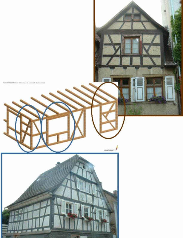 Key load bearing elements exemplifiedon two typical buildings. Photos by M. Kauffmann.