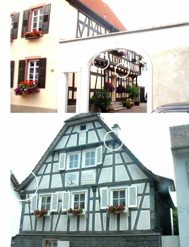 Connection between horizontal andvertical load bearing elements: side wall (top) and typical gable solution (bottom). Photos by M.Kauffmann.