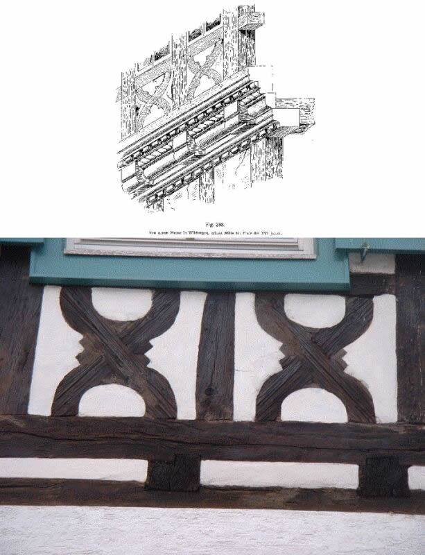 Parapet ornaments: top - at a house inWildungen, built in the middle till end 16th century.Source: Uhde(1903), Fig. 288 on page 252; bottom- at a house in Durlach. Photo: M. Kauffmann.