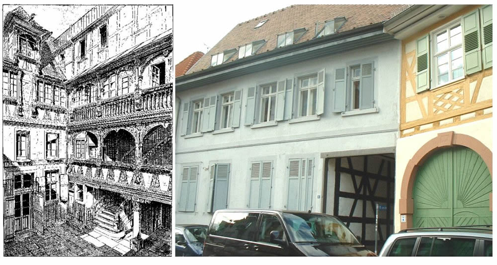 "Courtyard of a house in Strassbourg from 1657 (left). Source: Uhde (1903) Fig. 307 on page 269 from ""Strassbourg and its buildings"" andpassage to the courtyard in Durlach (right). Photo M. Kauffmann."