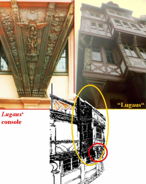 "Details of a ""Lugaus"": photo of such aform in central Germany/Frankfurt, Maine (topright), console detail/Frankfurt, Maine (top left),drawing after examples of Lachner(1885) (bottom)"
