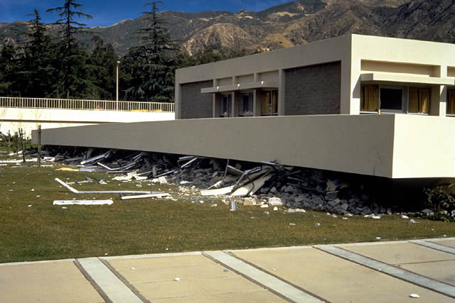 Olive View Hospital, Psychiatric Unit, 1971 San Fernando Earthquake. This unit was a 2-story reinforced concrete building. The structural system was a moment resisting frame.