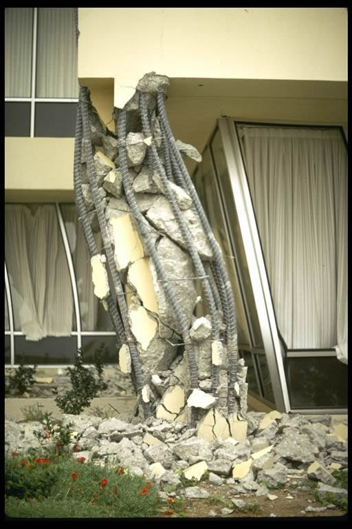Example of damage to the corner columns at Olive View Hospital which was the result of poor seismic detailing. [9]