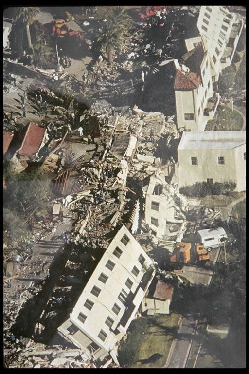 Collapse of the San Fernando Veterans Administration Hospital from the 1971 San Fernando earthquake. The image is from air photos take shoryly after the event. [9]