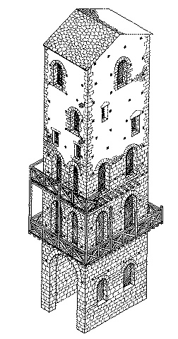 Axonometry of the original version of the tower in Figure 2.
