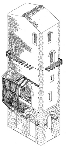 "Axonometry of the tower of ""S. Pietro in Vicoli."""