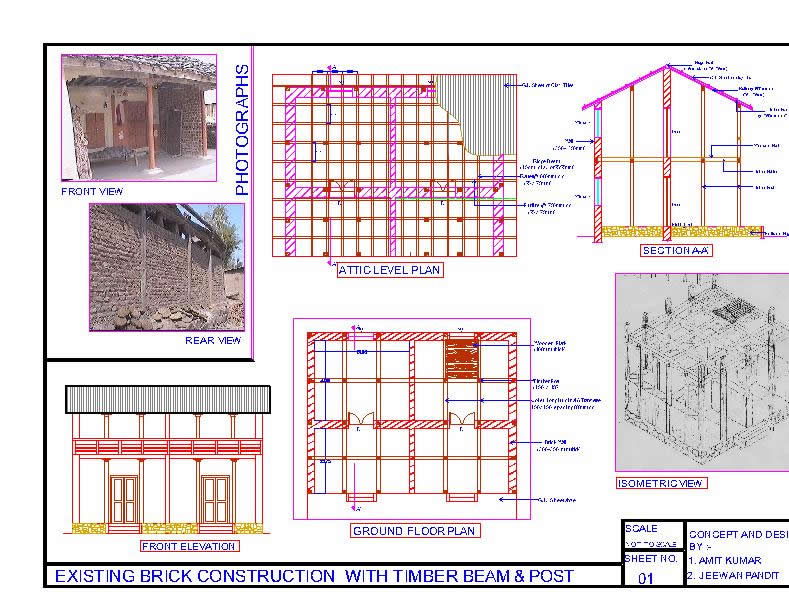 Construction Details of Timber Frame Brick Building