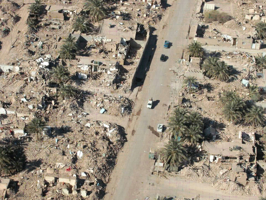 Aerial view of complete destruction of adobe dwelllings in Bam earthquake