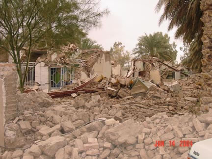 Bam earthquake: collapsed adobe structures