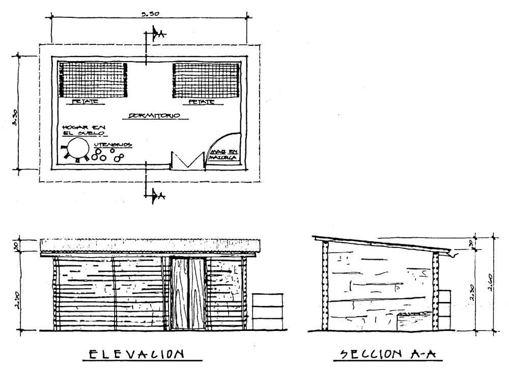 Plan shape, cross-section and view of a typical residential bahareque building in a rural area (here: San Antonio Palop