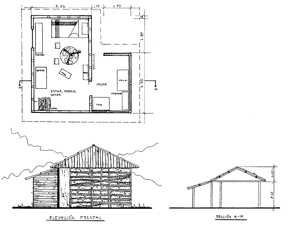 Plan shape, cross-section and view of a typical bahareque building with a wooden annex in a rural area (here: Soloma/Guatemala)