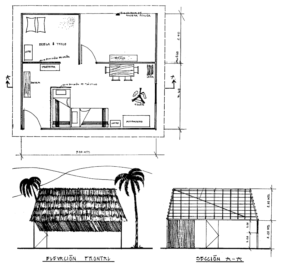 Plan shape, cross-section and view of a typical bahareque building in a rural area (here: Purulh)