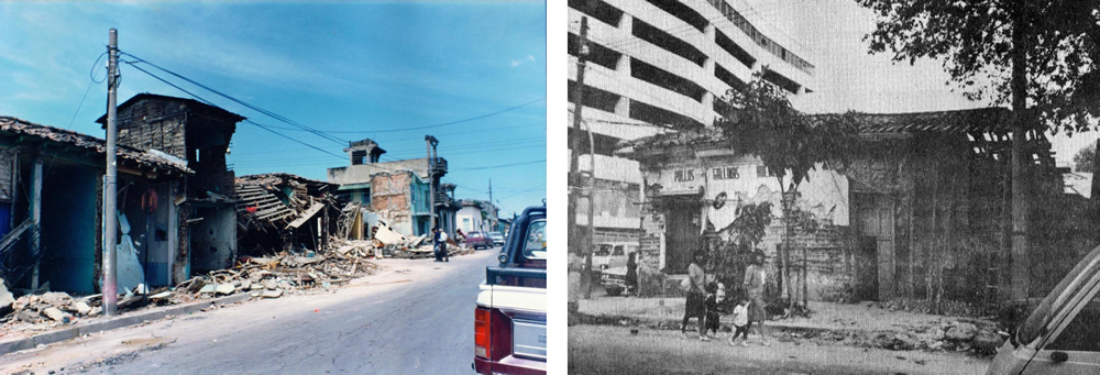 Damaged bahareque dwellings after the San Salvador earthquake on October 10, 1986 (left: San Jacinto neighborhood; right: after Kuroiwa, 1987).