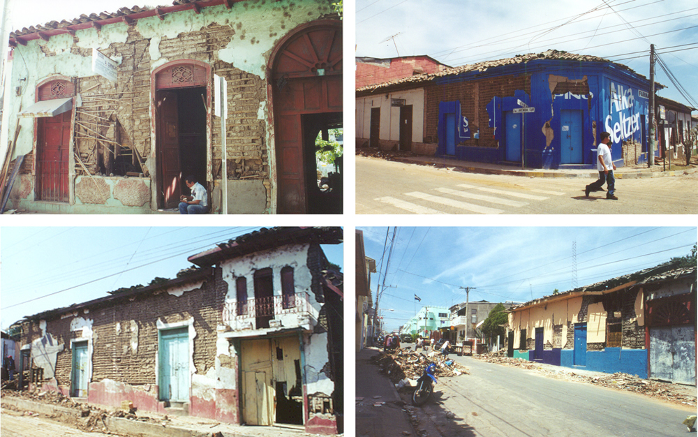 Structural damage to bahareque dwellings in the city of San Vicente caused by the earthquake on February 13, 2001.
