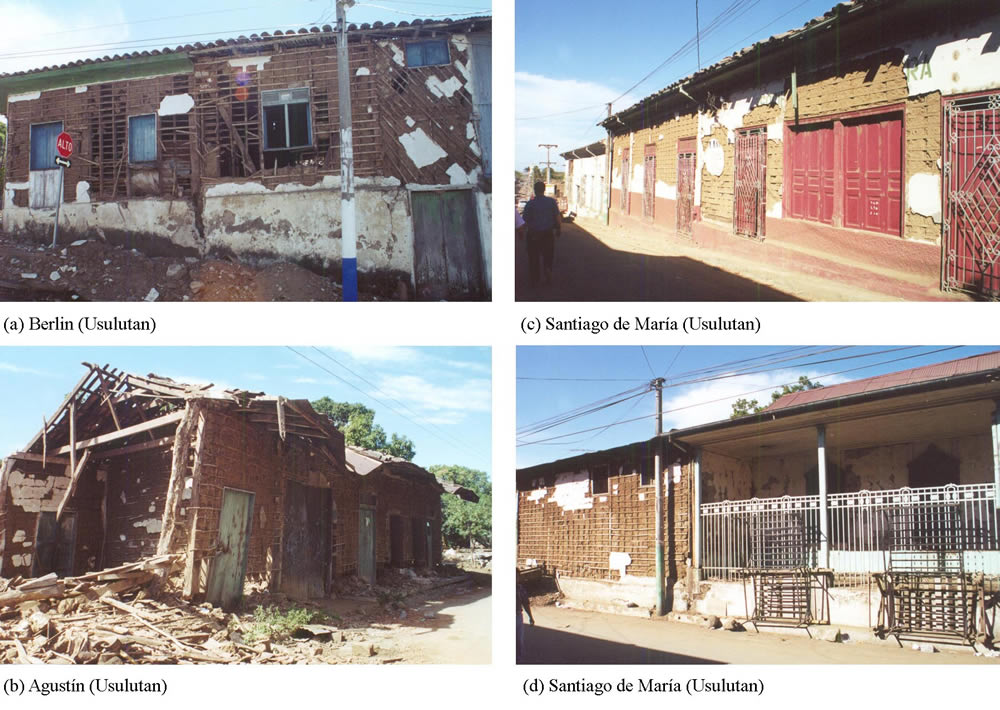 Structural damage to bahareque dwellings caused by the earthquake on January 13, 2001.