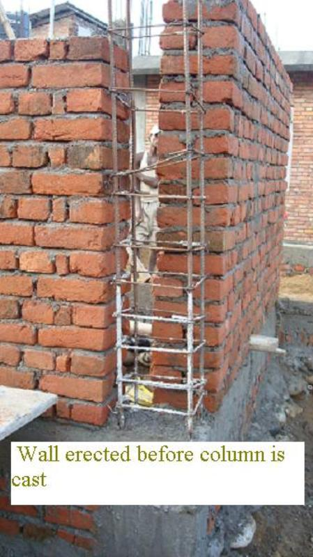 Infill wall erected before concreting column