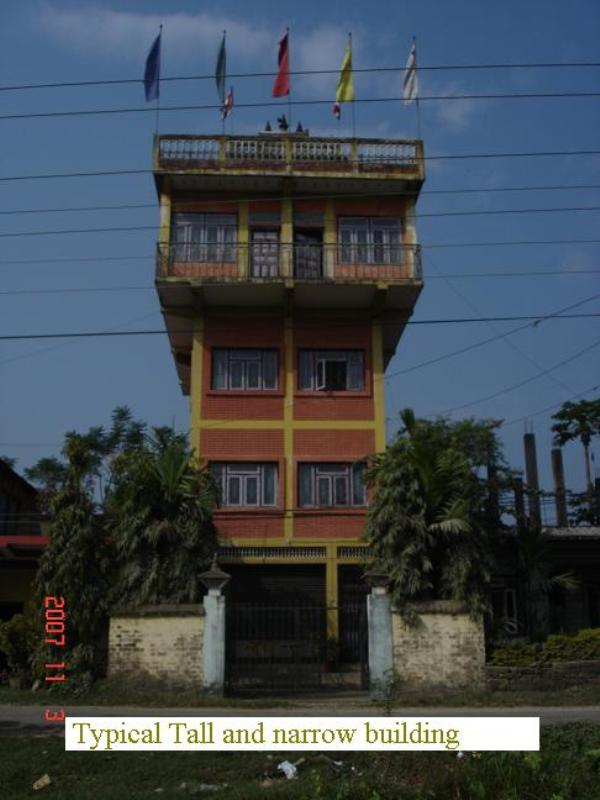 A free standing building with large top story