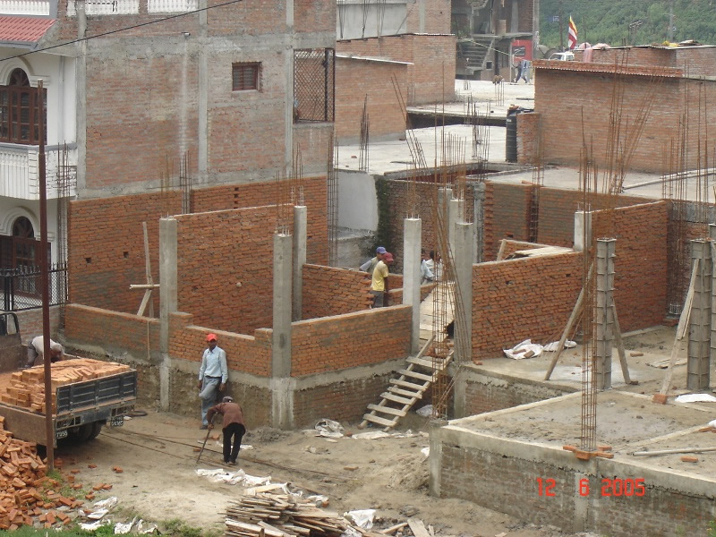 infill wall under construction