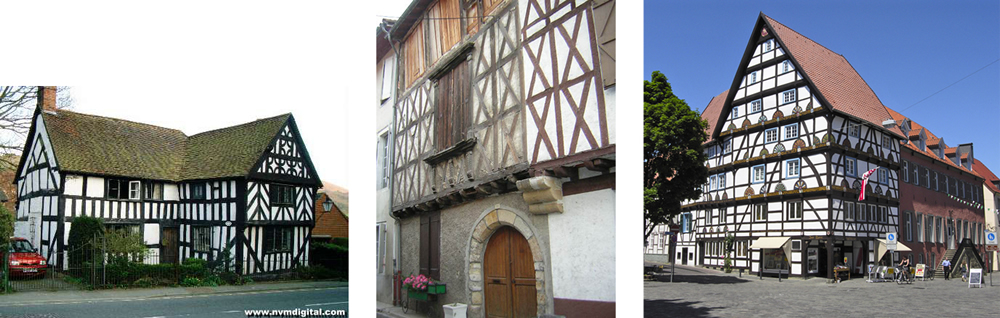 Examples of similar construction types from (left) Britain (hald-timber house), (middle) France (Photo Source: www.histariege.com/le_mas_d_azil.htm), and (right) Germany (Photo Source: Hans Peter Schaefer (found on the www).